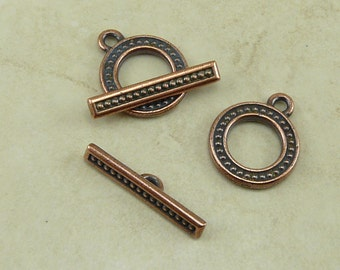 2 TierraCast Beaded Hollywood Lights Toggle Clasp - Copper Plated Lead Free Pewter - I ship Internationally 6139
