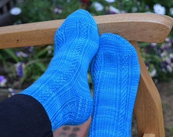 Rib and Texture Knit Socks Pattern - MOIRAI SOCKS Knitting Pattern PDF - Instant Download