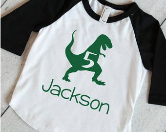 T-Rex Birthday Shirt Personalized Dinosaur 5th Birthday Shirt, Dinosaur Birthday Shirt, 5 Year Old Dinosaur Shirt 323