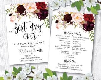 Wedding program fan, Wedding program template, wedding programs instant download, Wedding Program Printable, Wedding Ceremony Template, WP24