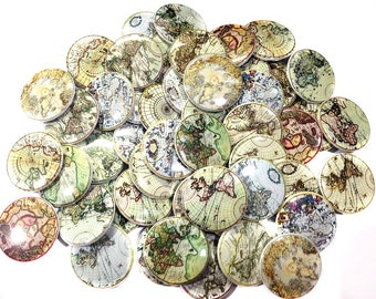 """Ancient Maps, 1"""", 1.25"""", 1.5"""", Buttons, World Travel, Globes, Map, Ancient Map Buttons, Map Pins, Earth Buttons, Map Theme, Earth Pinbacks"""