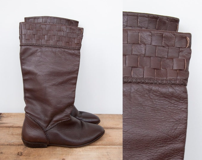 80s Vintage Brown Leather Braided Basket Weave Tall Boots. 9 West (Women 6.5, 7 US)