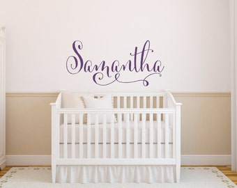 Nursery Wall Decor - Swirly Name Wall Decal - Baby Girl Nursery Wall Decal - Girls Name Wall Decal - Vinyl Wall Decal - Vinyl Lettering
