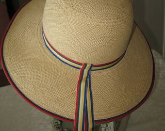 Ribbon and vintage natural color Georgette.Paille panama straw hat.