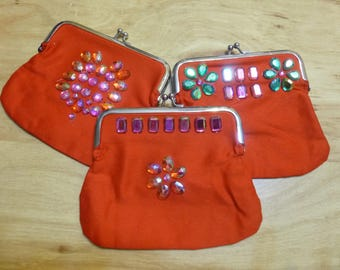 Small purse with clasp, red, heart, single flower, top border, cotton, lined, coin purse