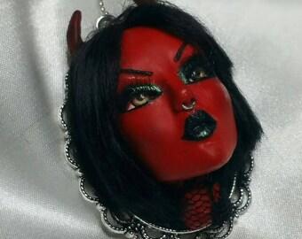 Evil Devil ooak polymer necklace halloween