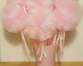 Princess Party Wand Favor Fairy Tulle Pom decoration Birthday dress up centerpiece pink girl vase halloween costume flower bouquet wedding