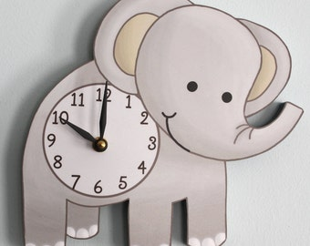 Elephant Wooden WALL CLOCK for Kids Bedroom Baby Nursery WC0070