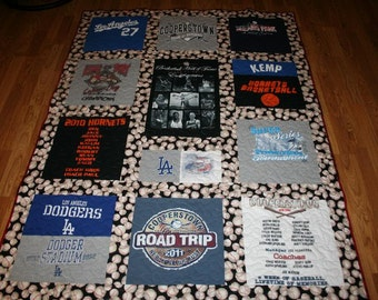 Custom Made T-SHIRT QUILT from your T-shirts - vacations, concerts, sports, graphic T's of all kinds - a t-shirt quilt is just what you need