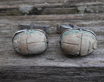 Vintage Sterling Silver Scarab Beetle Cuff Links. 1980s. Gift for Men, Dad, Grad, Groom, Groomsmen, Husband, Brother, Son