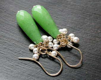 Lime green cluster earrings, apple green, dyed jade stone, 14k gold filled, drop earrings, dangle, Swarovski pearls, Mimi Michele Jewelry
