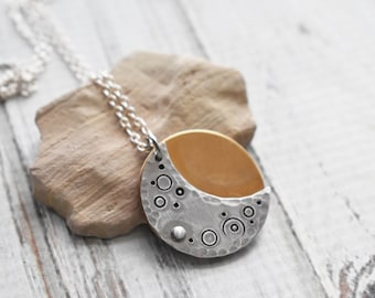 Solar Eclipse Necklace- Silver Moon Stamped Jewelry- Astronomer Space Jewelry- Moon Craters Eclipse Aluminum Pendant