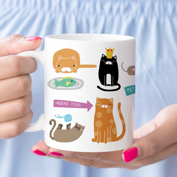Coffee Mug Cute Kitty Cats Coffee Mug Gift for Cat Lover Ceramic Microwave and Dishwasher Safe Cup
