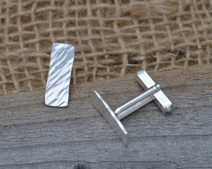 Rectangular Cufflinks With Textured Surface In Sterling Silver, Simple Wedding Cufflinks