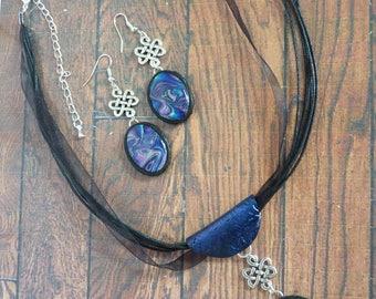 OOAK, Blue Purple Mokume Gane Jewelry, Necklace Earring Set, Silver Knot Charm, Dangle Earrings, Polymer Clay, Oval Pendant on Black Choker