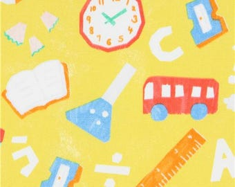 218563 chartreuse-yellow with bus pencil school theme oxford fabric by Kokka