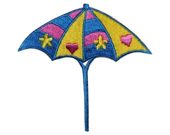 ID 3368 Beach Umbrella Patch Ocean Vacation Cover Embroidered Iron On Applique