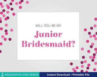 Will You Be My Junior Bridesmaid Printable Card • How to Ask Your Bridesmaids • Jr. Bridesmaid Proposal • Pink Glitter Instant Download File
