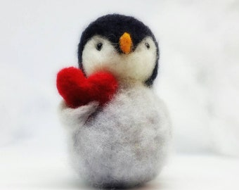 Needle felted Penguin,Sold individually ,  carrying a large red heart the perfect Mother's Day gift , Mother's Day penguin