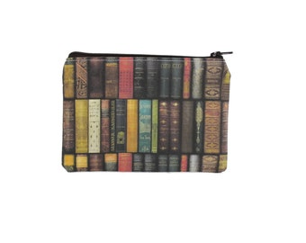 CHOOSE SIZE Antique Book Zipper Pouch / Book Lover Gift Small Bag / Vintage Book Library Wallet