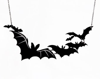 Cloud of Bats Necklace - Laser Cut Necklace (C.A.B. Fayre Original Design)