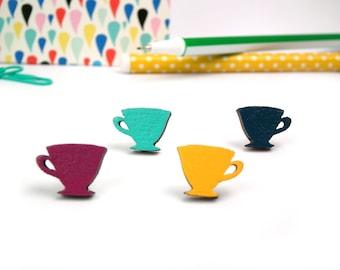 Wooden Tea Cup Earrings - Gift for Tea Lovers - Teacup Studs - Eco Jewelry - Wooden Earrings - Tea Jewellery - Cup Studs