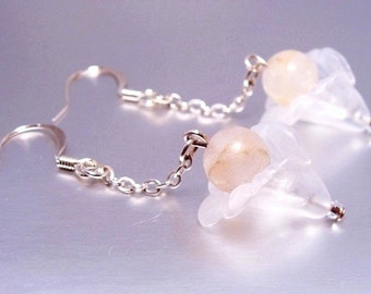 Rose Quartz Earrings with Smoky White Acrylic Flowers