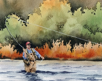 "Fly fishing Art Print - ""Hooked Up"" - Watercolor Painting - Angling Art - Signed by Artist DJ Rogers - Wall Decor"