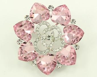 Pink Rhinestone Brooch, Wedding Brooch, Bridal Brooch, Bouquet Brooches, Pink Rhinestone Brooches Wedding Crafts, Sash Dress Brooch