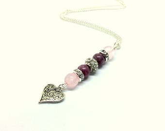 valentines necklace, valentines gift, valentines jewelry, rose quartz necklace, rose quartz jewelry, crystal necklace, heart necklace