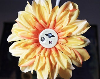 Planets in Space Flower Hair Clip in Orange