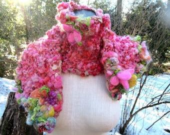 Handgestrickte Schal lang handgesponnene Kunst Garn Boho Blumenschal - das schöne rosa Schal
