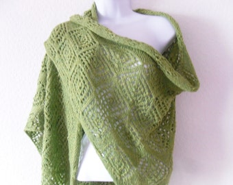 Big Oversized Lace Womens Spring Shawl Scarf hand knitted in spring green alpaca / merino mix yarn. REDUCED PRICE
