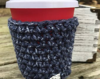 Crochet Coffee Cozy, Crochet Coffee cup Cozy, Teacher gift, Cup Sleeve - Denim Blue cup cozy for hot and cold drinks, coffee lovers gift