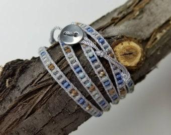 5 Wrap Silk Cord Beaded Bracelet