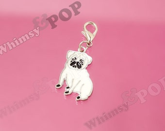 1 - Pug Dog Enamel Charm, Pug Charm, Dog Charm, Pug Puppy Charm, 20mm x 25mm  (6-5F)