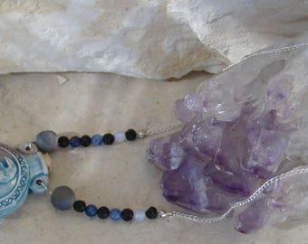 Raven Vial & Stone Necklace