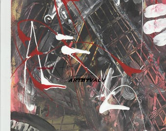 music art guitar painting of my original art abstract red white black painting abstract guitar strings notes art fingers printable