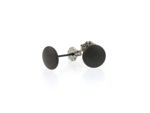 Black Smartie Titanium Stud Earrings, 100% Hypoallergenic, Sensitive ear
