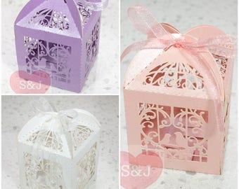10pcs Birdcage Hollowed Wedding/Birthday/Party Bomboniere/Favour Boxes with Ribbon