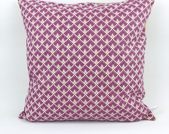 Cushion cover 40 x 40 cm - scale purple and mustard yellow linen graphic pattern. Cotton and confetti