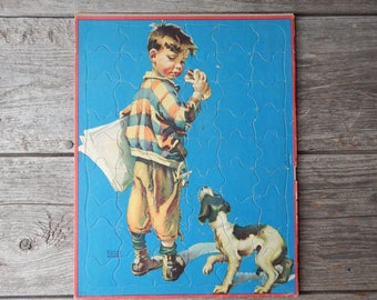 1950s Tray Puzzle - Frances Tipton Hunter - Boy with Hot Dog and Dog