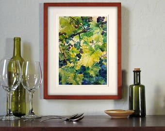 "ORIGINAL WATERCOLOR by Linda Henry entitled ""Wild Grapevines"" - Double Matted & ready to frame! (#ES013)"