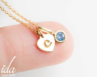 Personalized Necklace - Initial Necklace Gold - Birthstone Necklace - Personalized Gift for Her -Gold Jewelry- Personalized Christmast Gifts