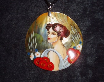 """Handpainted mother of pearl Necklace """"Summer. Girl with flowers."""" by A.Mucha ART NOUVEAU pendant"""