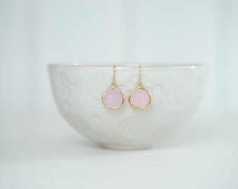 Light Pink Teardrop Earrings | Bridesmaid Earrings | Wedding Jewelry | ELPKG9, ELPKS9
