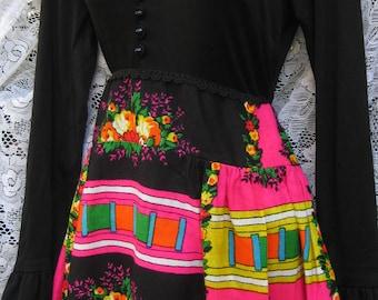 French style EASTER dress 1960s 60s folk art maxi dress VALENTINES DAY dress Vibrant Bold hippie Folk Rocker festival dress, 1960s 60s dress
