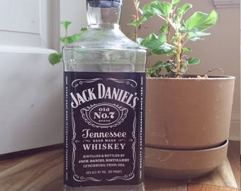 Empty Jack Daniels Bottle, #7, Tennessee Whiskey, Craft supply, diy lamp, decanter, collectible man cave Jack bottle