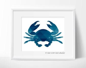 Crab Print / Blue Geometric Crab / Crab Digital Print / Crab Art / Geometric Art / Geometric Crab / Blue Crab / Instant Download