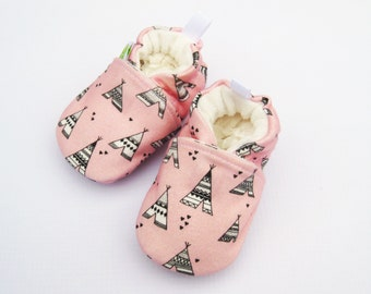 Organic Knits Teepee in pink / All Fabric Soft Sole Baby Shoes / Made to Order / Babies